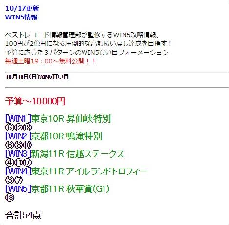 ベストレコードの無料WIN5情報